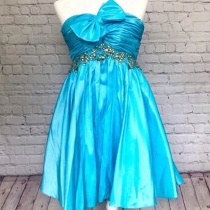 NWT MAGGIE Sottero / turquoise short prom